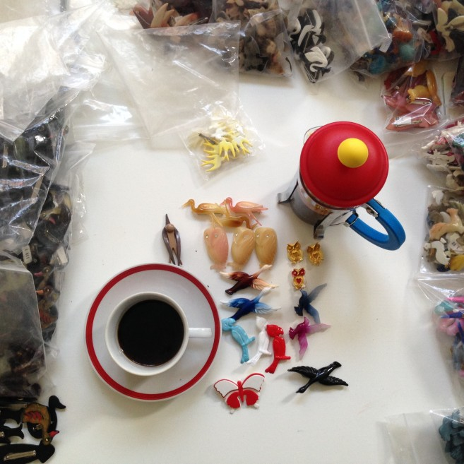 Vintage brooches and coffee in Bodum