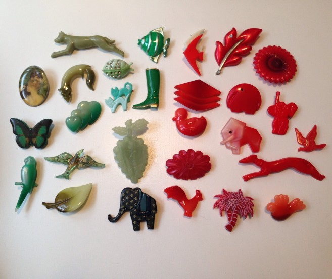 Green Red Vintage Brooches