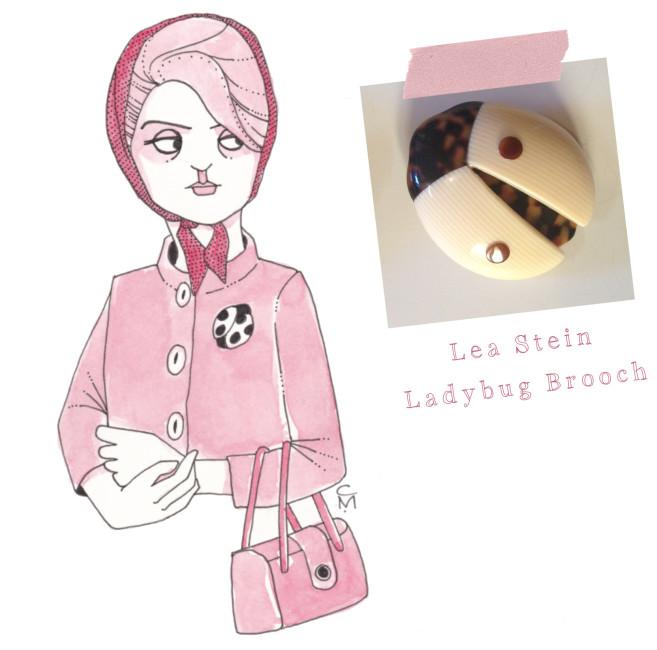 Lea Stein ladybug brooch
