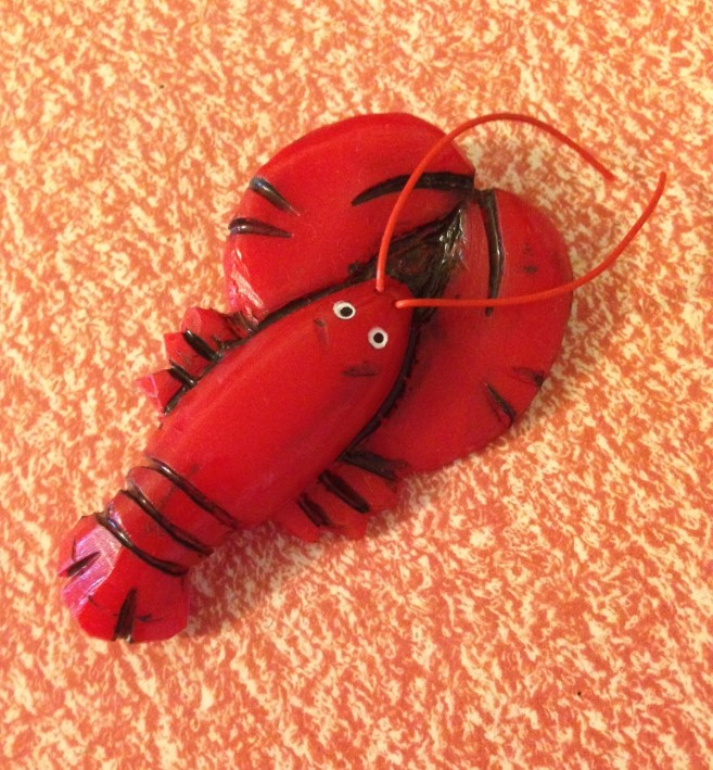 Lobster Luxulite brooch