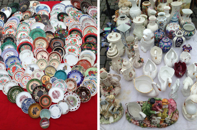 flea market brussels china plates and vases