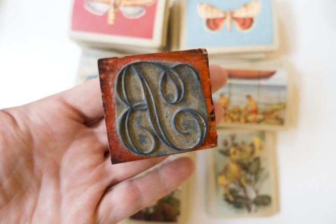 vintage B stamp