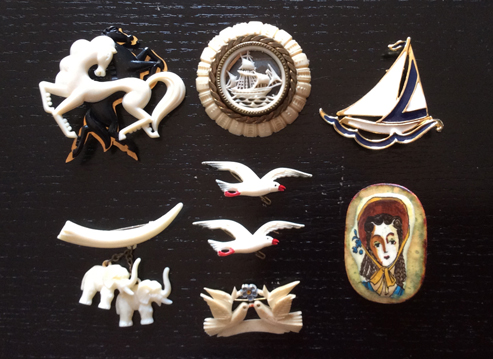 Vintage brooches, thrifted in Brussels