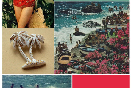 Vintage Summer Fashion Beach Collage